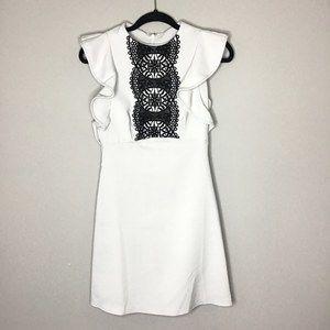 ASOS Ruffle sleeve black lace bib dress